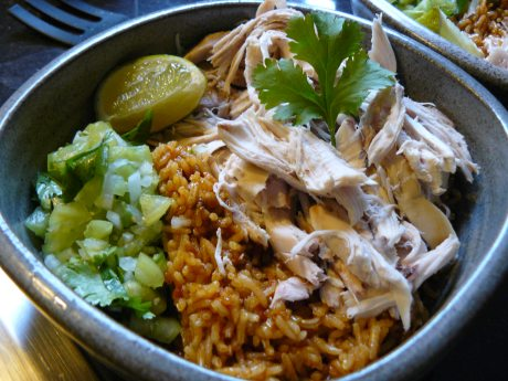 tomatillo salsa-mexican rice-chicken